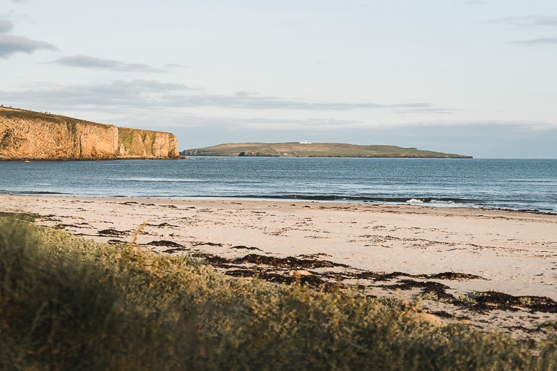 Golden hour at Dingieshowe Beach on Orkney Mainland in Scotland