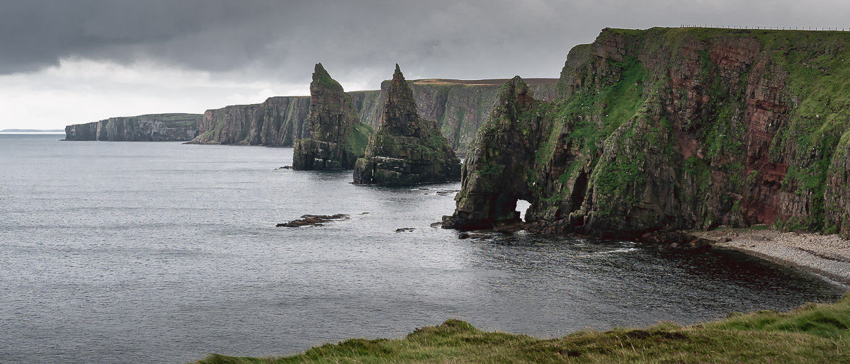 Duncansby sea stacks on a very overcast and moody day.