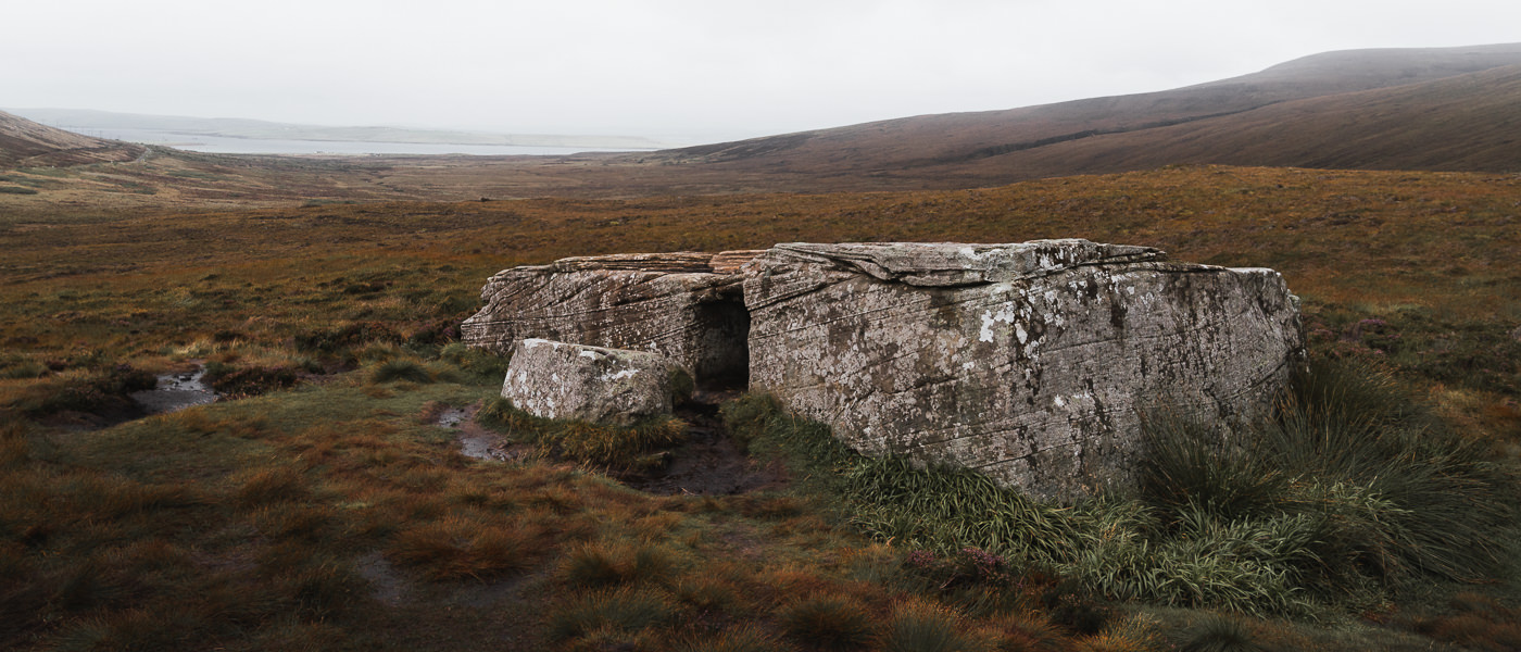 A two chambered megalith on Hoy called the Dwarfie Stane, thought to have been carved out by hand around 3000 years ago
