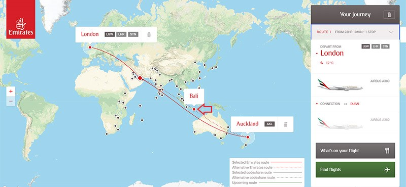 Emirates route map showing Bali flight route