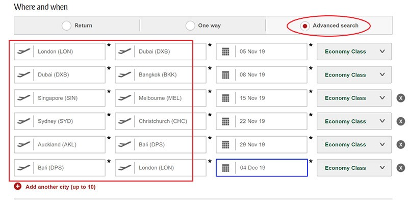 Example search for a great value flight with Emirates