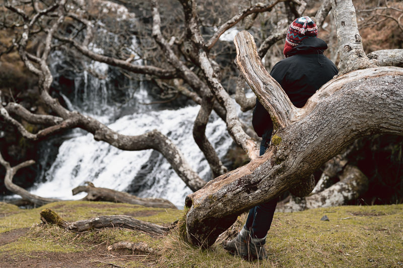 A person sits on a ground hugging tree branch in front of Eas Fors Waterfall on the Isle of Mull.