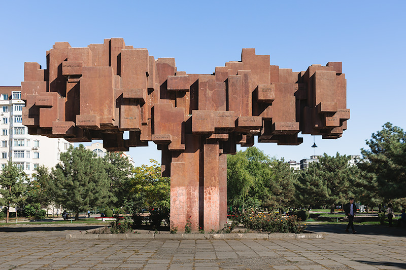 The huge block-like statue, 'Fathers of The Nation' in central Bishkek