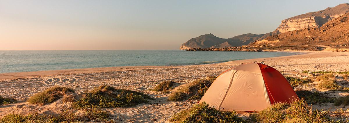 A tent pitched on Fazayah Beach near Salalah