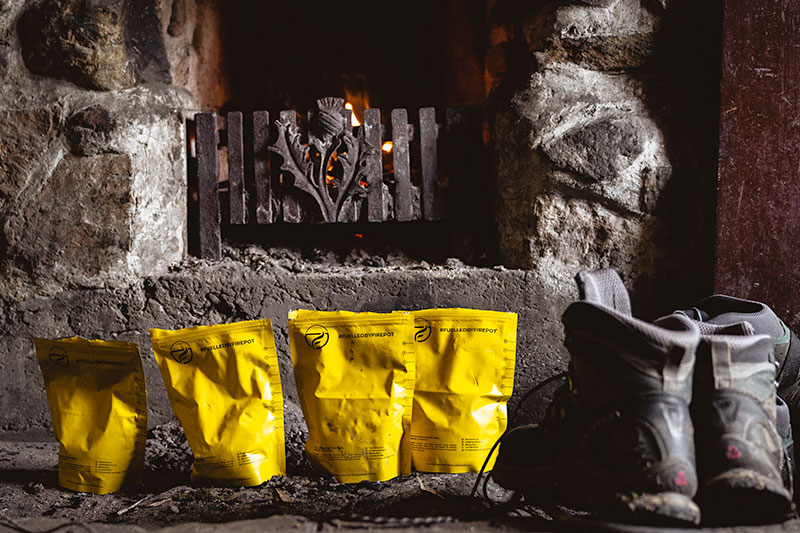 Firepot dehydrated meals, keeping warm at the fireplace as they soak up the hot water