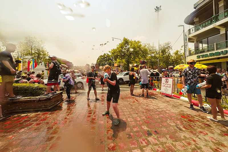 Getting blasted with a water gun at the Songkran Festival in Chiang Mai, Thailand
