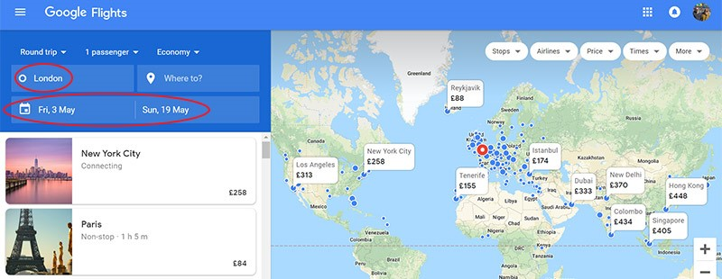 Find the cheapest flights to anywhere using Google Flights