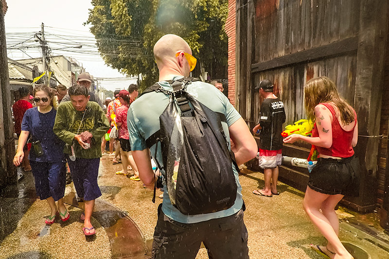 Getting stuck into a waterfight going through the Thapae Gate at the Songkran Feastival in Chiang Mai, Thailand