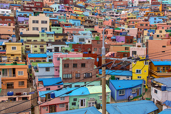 Busan City Guide: Colourful houses cascading down the hillside at Gamcheon Culture Village