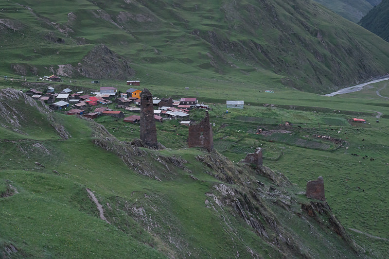 A view of the village of Girevi at dusk, seen from the west on the trail from Shatili to Omalo