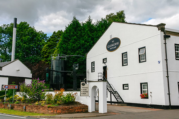 Ultimate Glasgow Guide: The Whitewashed facade of the Glengoyne Distillery, Glasgow