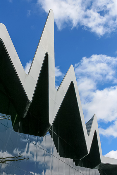 Ultimate Glasgow Guide: Looking up at the exterior of the modern Riverside Museum, Glasgow