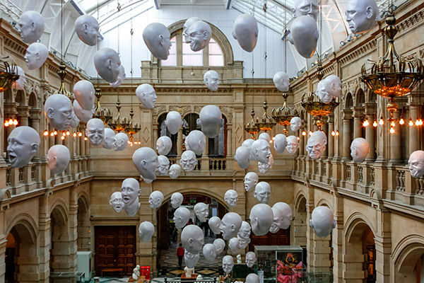 Ultimate Glasgow Guide: Floating Heads Art Installation inside Kelvingrove Art Gallery and Museum, Glasgow