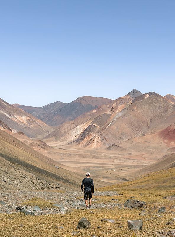 A man walking in the Gumbezkol Valley