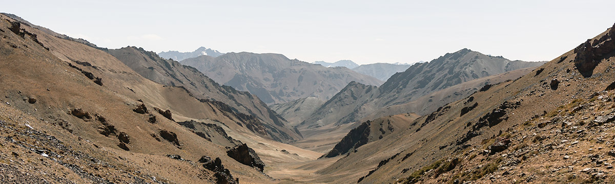 Looking towards the Madian Valley from Gumbezkol Pass, mountains everywhere