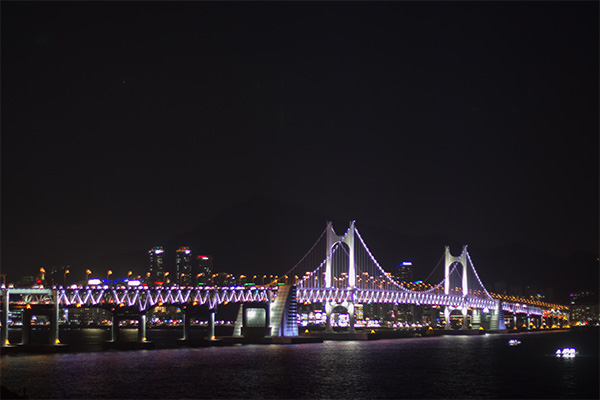 Busan City Guide: Gwangan Brige at night as seen from Igidae Park