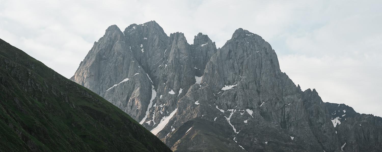The distinctive five peaks of the Chaukhi Massif, near Kazbegi in northern Georgia