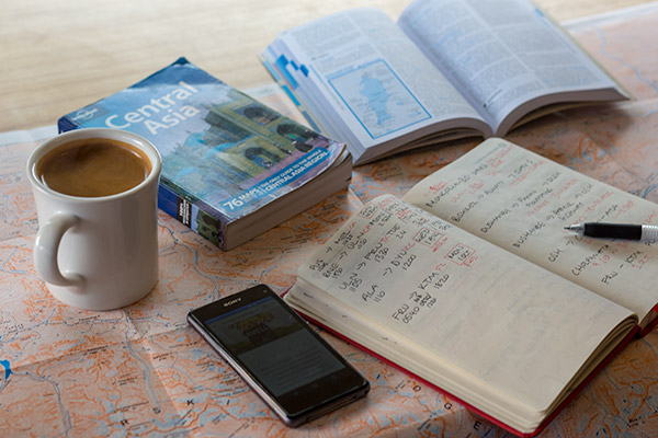 Resources for Travel - Books layed out on the table