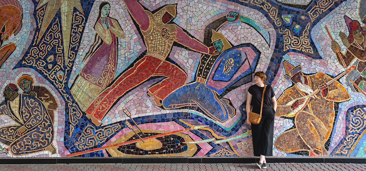 Perhaps the most elaborate example of Soviet-era art and architecture in Almaty. The spectacular Enlik-Kebek mosaic covers the wall to the right of the main entrance of the Hotel Almaty, dating from 1965. It tells a Kazakh folk tale of star crossed lovers in exquisite detail.