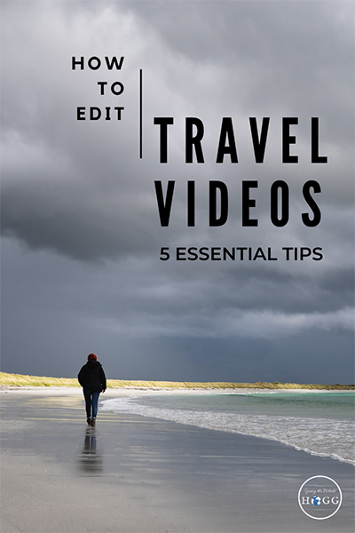 How to Edit Travel Videos: A person walks beneath stormy skies on a beach on Sanday on the Orkney Islands