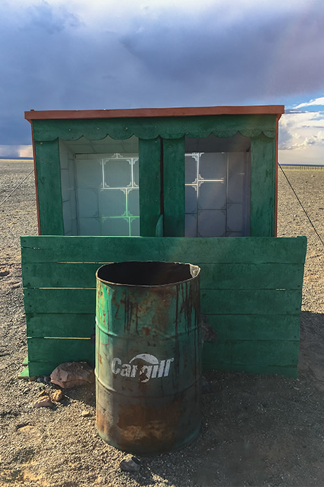 Budget Gobi Tour: Sunpath ger camp toilets, the Gobi, Mongolia