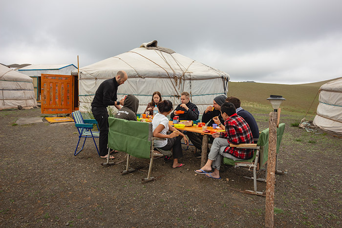 Budget Gobi Tour: Breakfast at a nomad camp near Yolyn valley in the Gobi, Mongolia