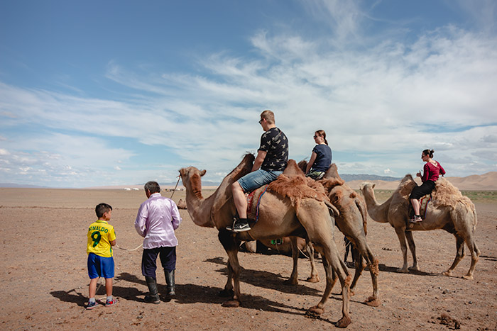 Budget Gobi Tour: Camel riding time at Khongoryn Els in the Gobi, Mongolia