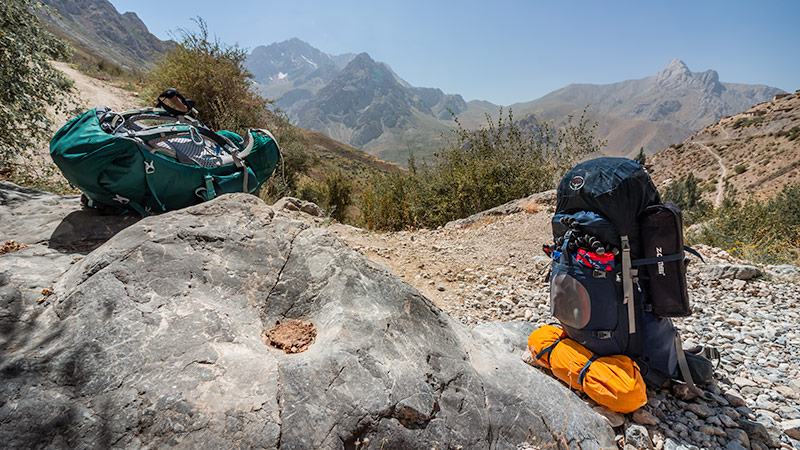 Our Osprey backpacks never let us down while Fann Mountains trekking in Tajikistan