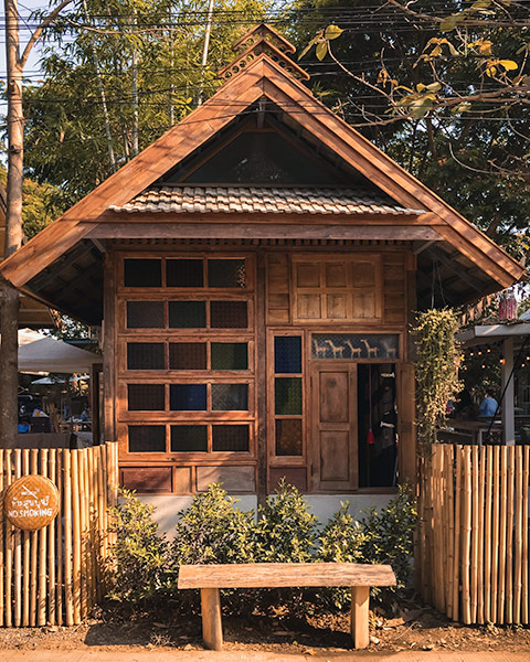 A small traditional wooden house near Chamchaa market around Chiang Mai