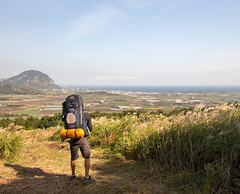 Essential Things to Pack for Travelling - Standing on a hill, looking out over Jeju, south Korea