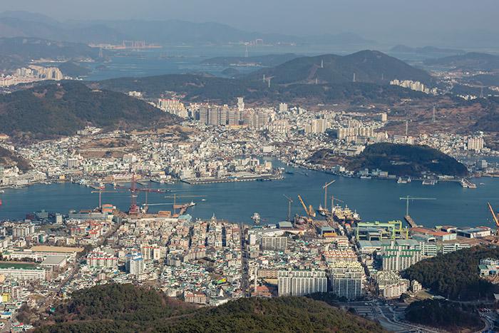 Looking down over Tongyeong from Mireuksan