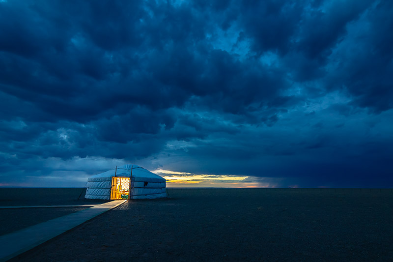 7 Days In The Gobi: Dramatic blue hour skies in the Gobi Desert, Mongolia