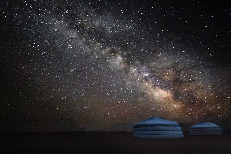 7 Days in the Gobi: The milky way above Mongolian gers in the Gobi