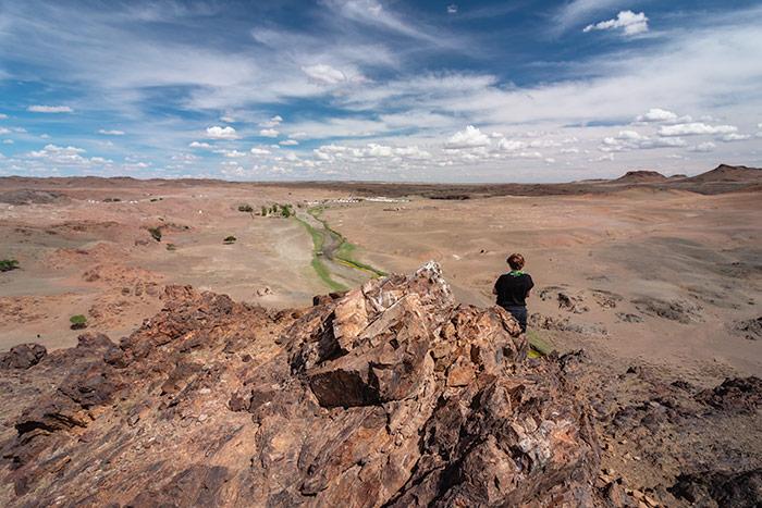 Budget Gobi Tour: The view towards the ruins of Ongi Monastery in the Gobi, Mongolia