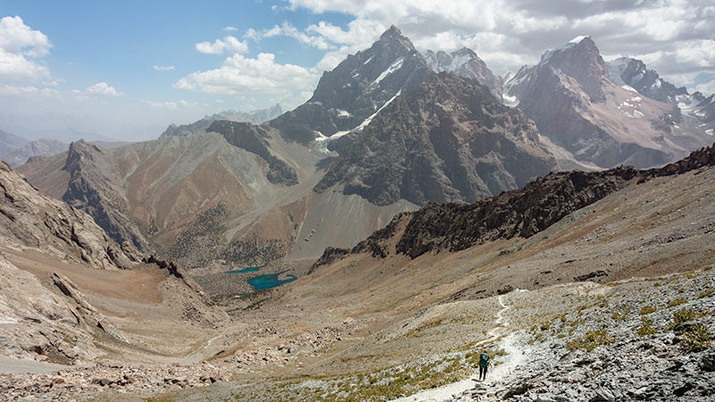 Looking down to Alauddin Lakes from the pass, a highlight of Fann Mountains trekking