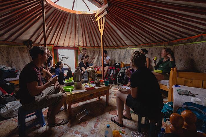 Budget Gobi Tour: Group breakfast in a Mongolian ger