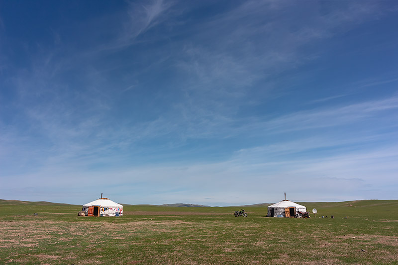 7 Days In The Gobi: A pair of gers shining in the sun in the Gobi, Mongolia