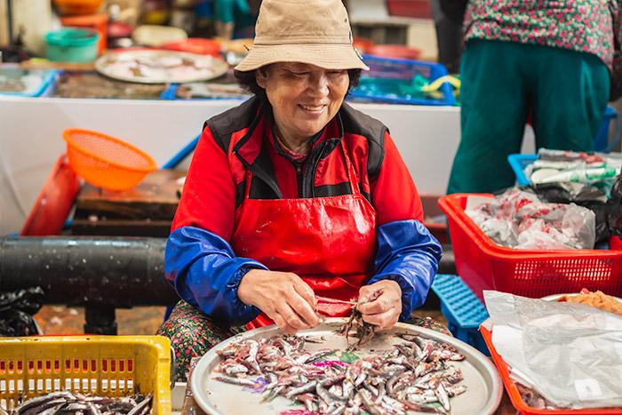 Tongyeong: A charming fish market ajumma prepares her fresh anchovies for sale