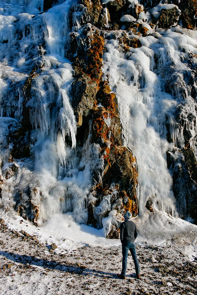 A week in Iceland - How far up does it go? A frozen waterfall at Snaefellsnes Peninsula, Iceland