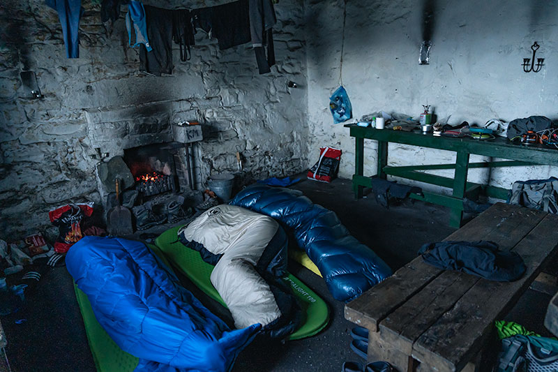 Early morning inside Peanmeanach Bothy. The other room with the sleeping platforms was already taken.