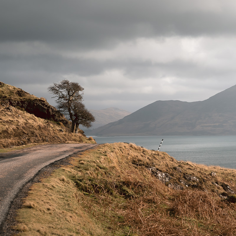 The single track road on the west coast of the Isle of Mull in winter.