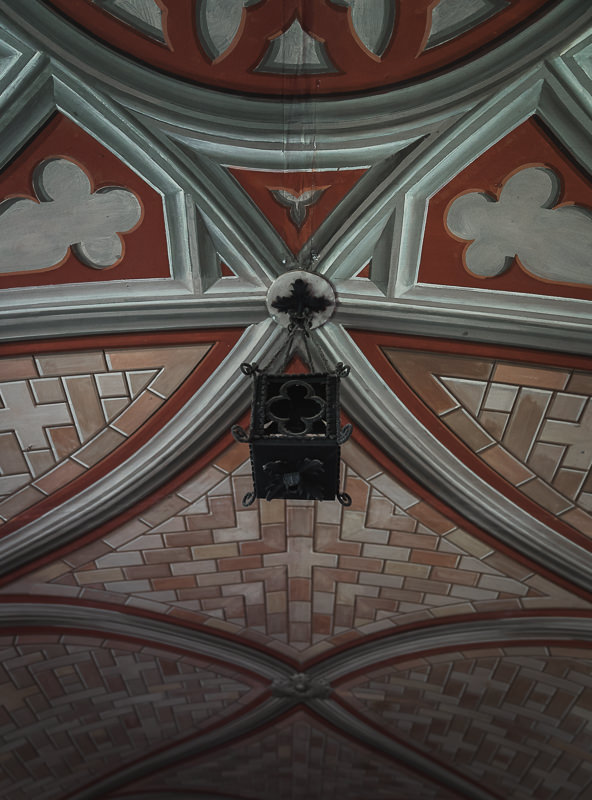 The hand painted ceiling of the Italian Chapel