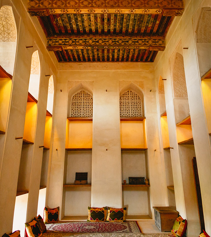 The interior of one of the plush rooms in Jabrin Fort, Oman