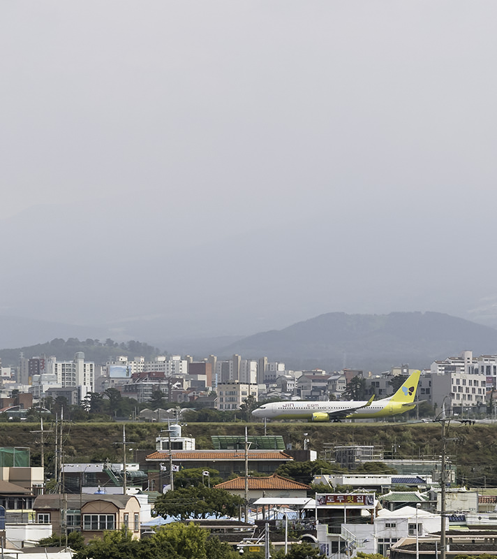 A plane lands on the runway at Jeju airport, from this vantage point looking like it's landing among the city's buildings