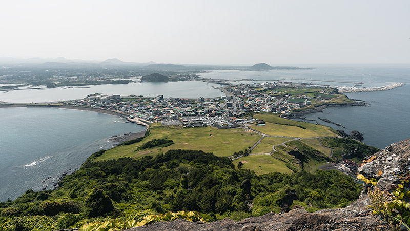 The view over Seonsan-ri and the rest of Jeju from the top of Seongsan Ilchulbong