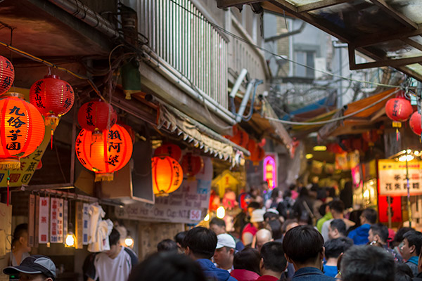 Day Trip From Taipei: Busy street scene from Jiufen Old Street, Taiwan