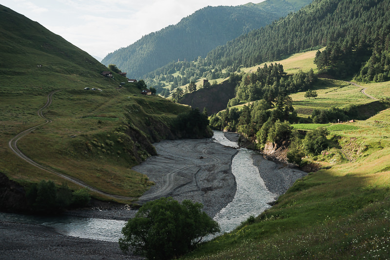 A view down Gometsari Gorge after crossing the river on the morning of Day 2 on the Tusheti to Pankisi Valley trek