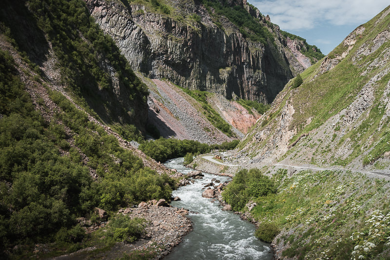 The dirt road to Truso Valley descends back to the Terek River before entering the narrowest part of Kasari Canyon