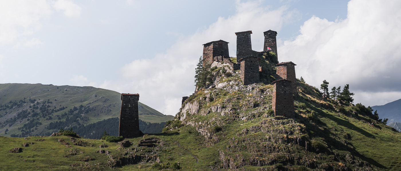 The Keselo towers on a rocky outcrop directly above the village of Upper Omalo, the start or end point for the Shatili Omalo trek in Georgia