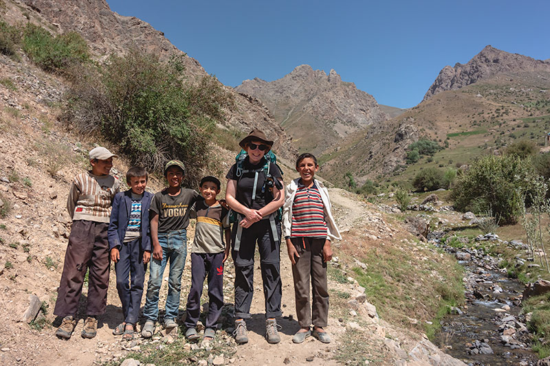 Independent Trekking In The Fann Mountains, Tajikistan: Haft Kul to Alauddin - Kim and the local lads, enroute to Tavasang Pass